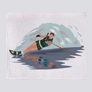 Water Skiing Throw Blanket